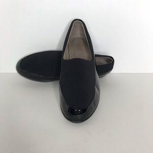 Ecco Black Slip On Loafer Stretch Top Comfort